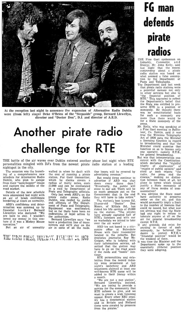 Another pirate challenge for RTÉ was a newspaper headline from The Irish Press dated January 24th 1978