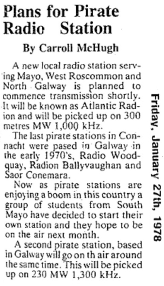 Plans for pirate radio station was a newspaper headline from The Western Journal dated January 27th 1978