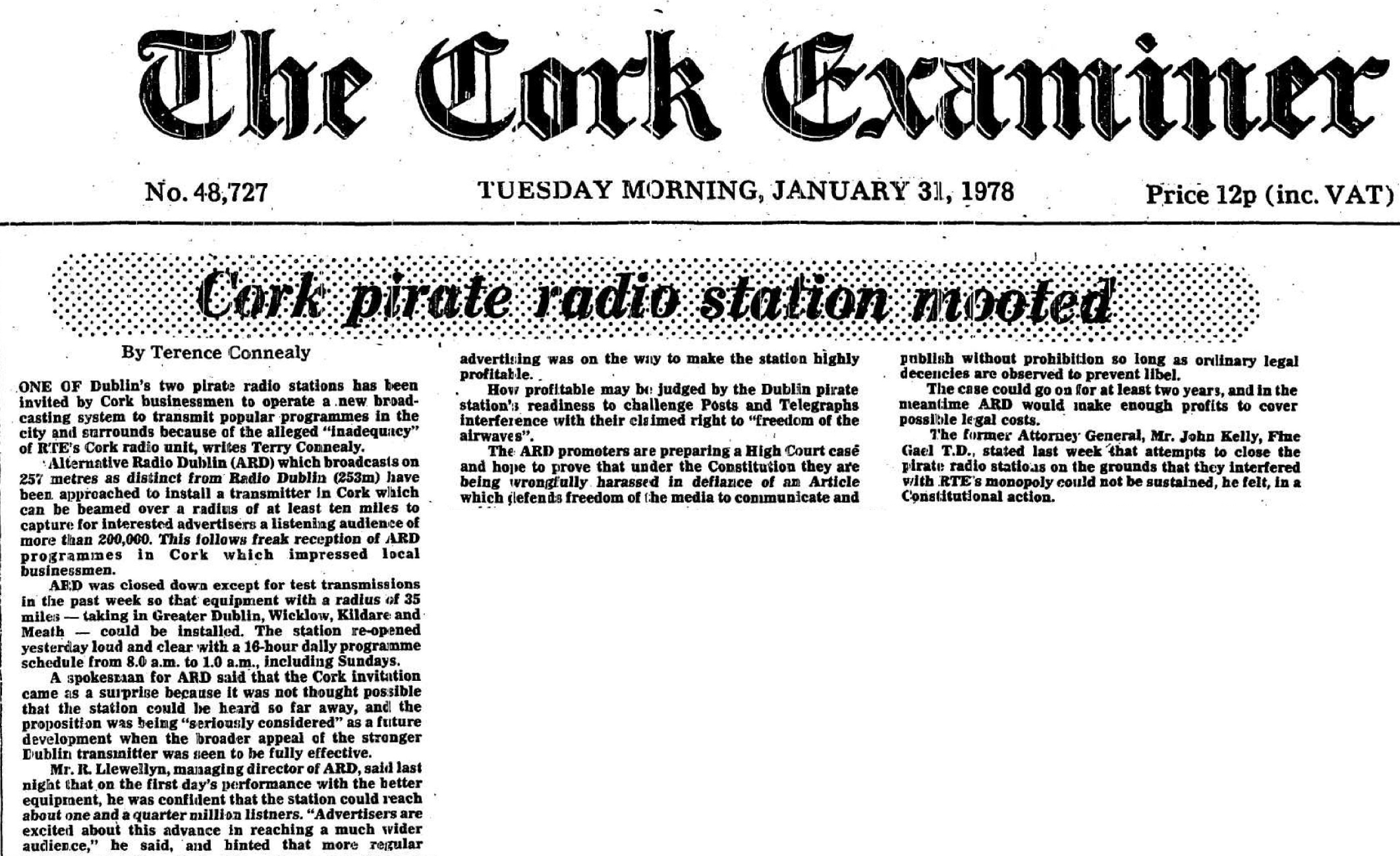 Cork pirate station mooted was a newspaper headline from The Cork Examiner dated January 31st 1978