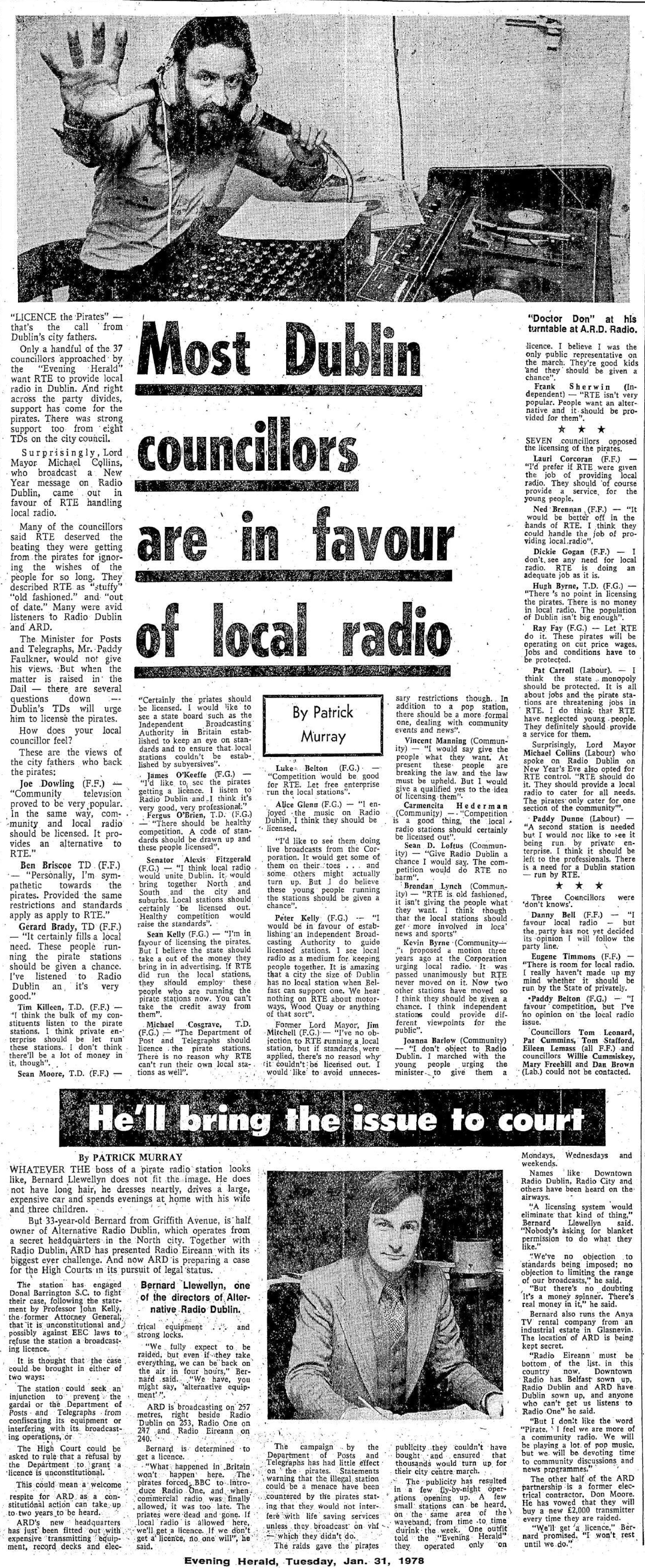 Most Dublin councillors are in favour of local radio was a newspaper headline from The Evening Herald dated January 31st 1978