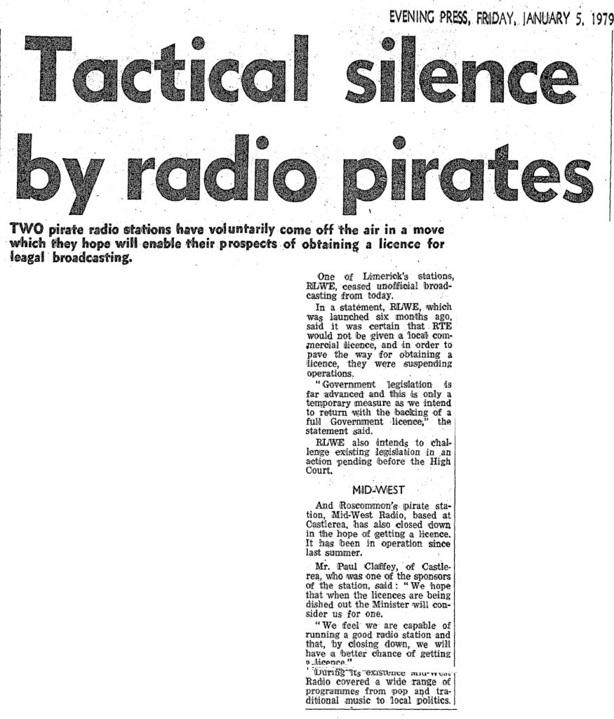 Tactical Silence by Radio Pirates was a headline from The Evening Press from January 5th 1979