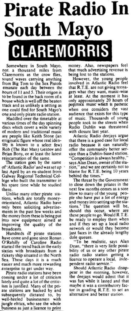 Pirate radio in South Mayo was a newspaper headline from The Mayo News dated January 19th 1979