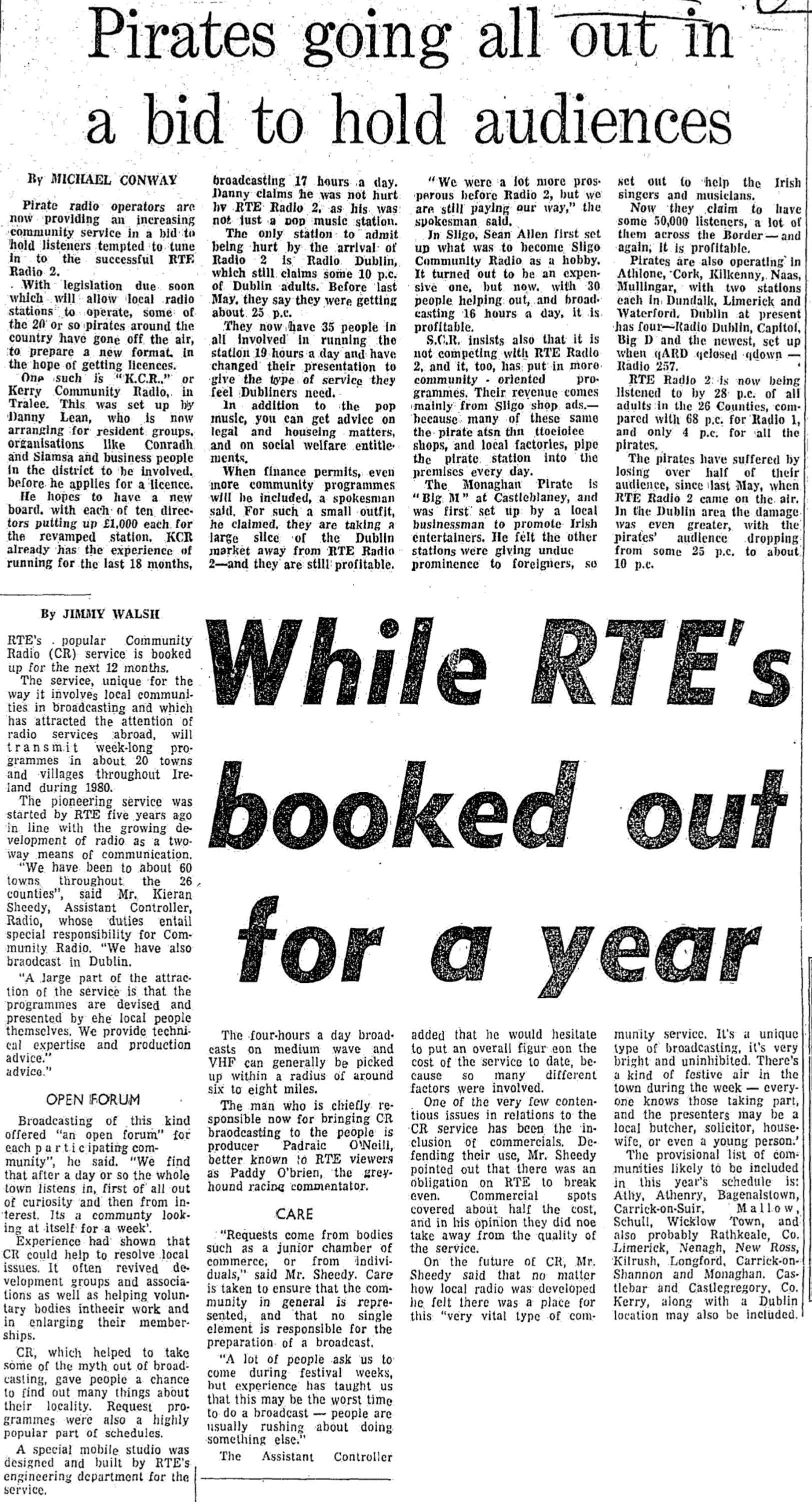 Pirates going all out in a bid to hold audiences was a newspaper headline from The Evening Press dated January 31st 1980