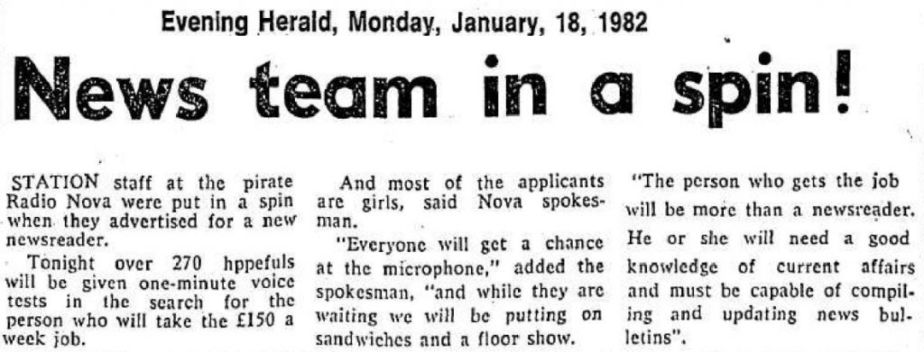 News team in a spin! was a newspaper headline from The Evening Herald dated January 18th 1982