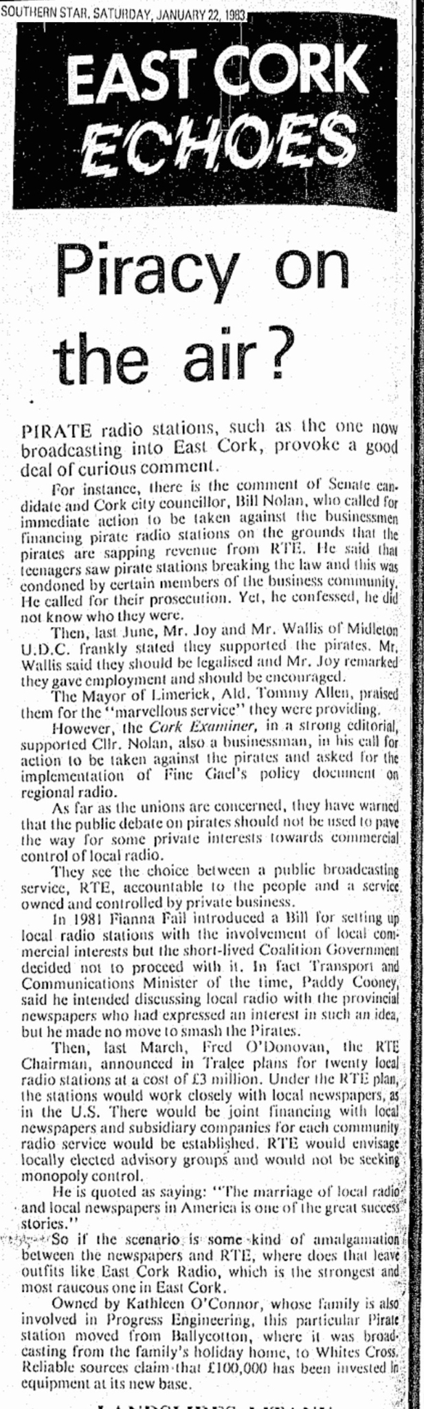 Piracy on the air was a newspaper headline from the Southern Star dated January 22nd 1983