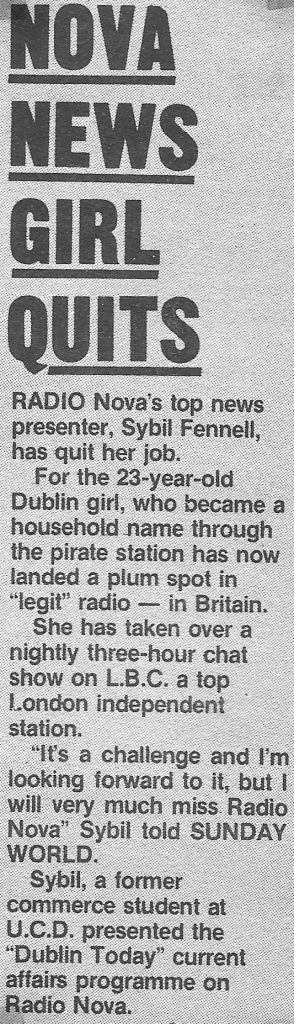 Nova News girl quits was an article from The Sunday World dated January 29th 1985.
