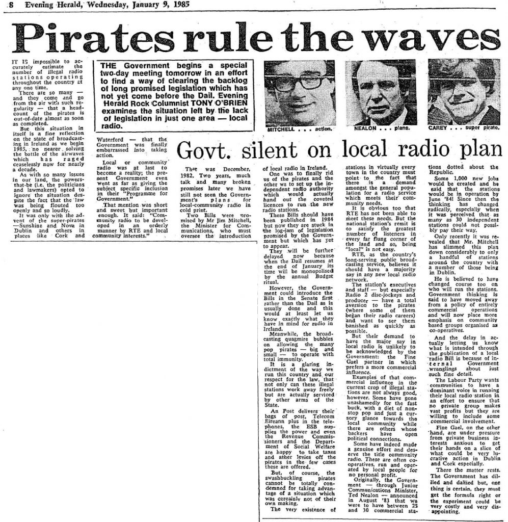 Pirates Rule the Waves is a headline from The Evening Herald dated January 9th 1985.