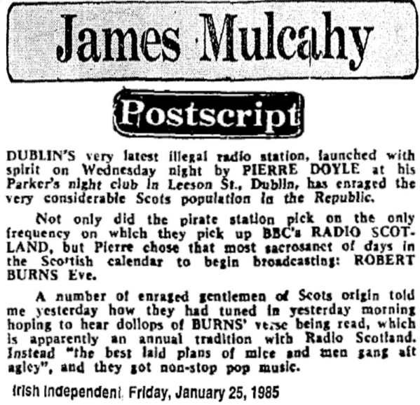 Postscript was an article from The Irish Independent dated January 25th 1985.