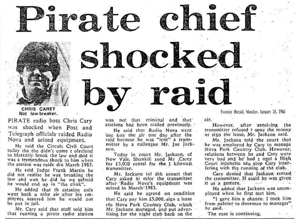 Pirate chief shocked by raid was a newspaper headline from The Evening Herald dated January 20th 1986
