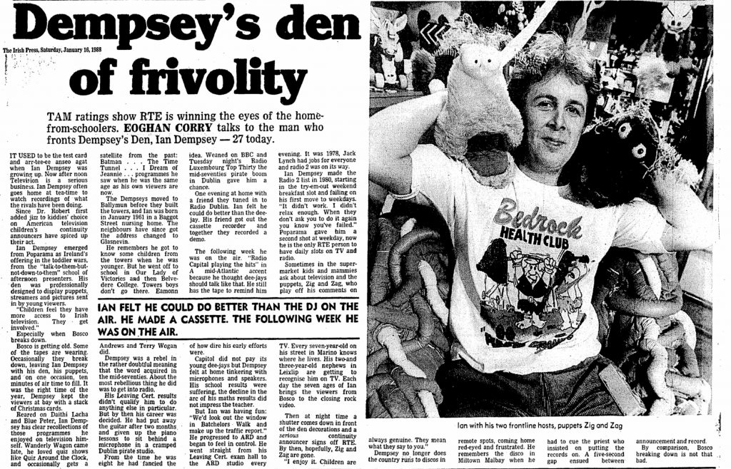 Dempsey's den of frivolity was a newspaper headline from The Irish Press dated January 16th 1988