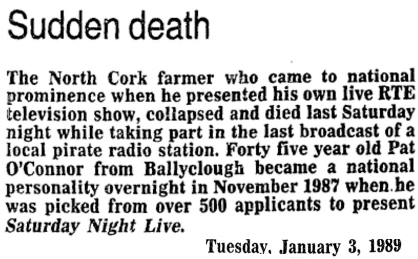 Sudden Death is a headline from The Evening Echo from January 3rd 1989.