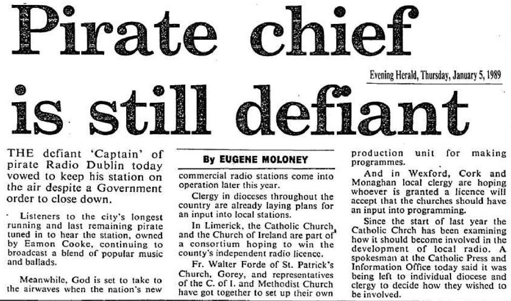 Pirate Chief is Still Defiant is a headline from The Evening Herald from January 5th 1989.