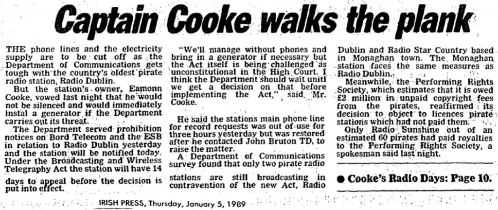 Captain Cooke Walks the Plank is a headline from The Irish Press from January 5th 1989.