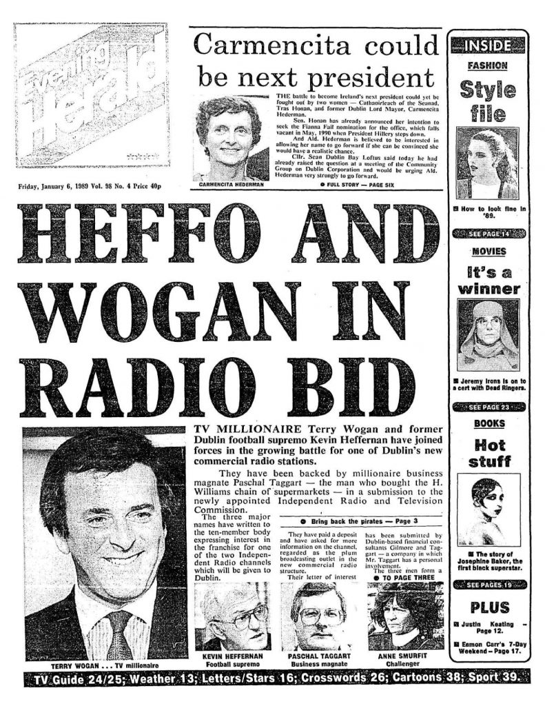 Heffo and Wogan in Radio Bid is a headline from The Evening Herald from January 6th 1989.