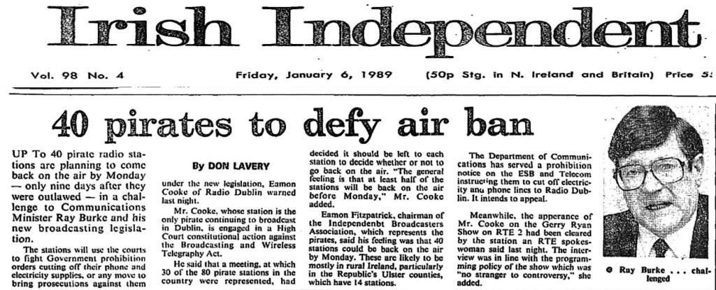 40 Pirates to Defy Air Ban is a headline from The Irish Independent from January 6th 1989.