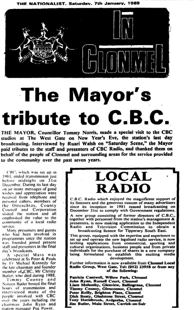 The Mayor's Tribute to CBC is a headline from The Nationalist dated January 7th 1989.