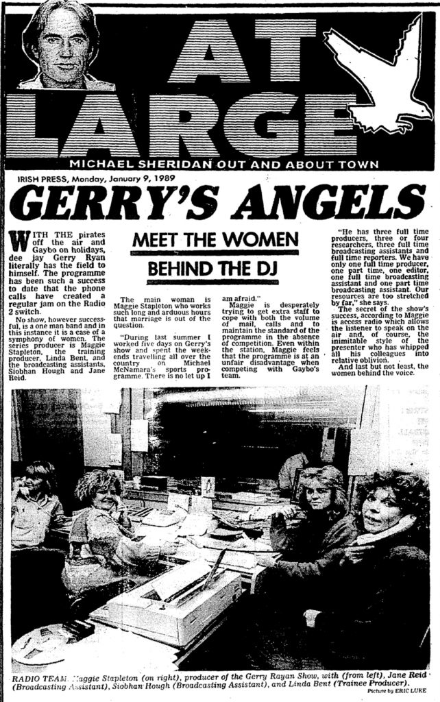 Gerry's Angels is a headline from The Irish Press from January 9th 1989.