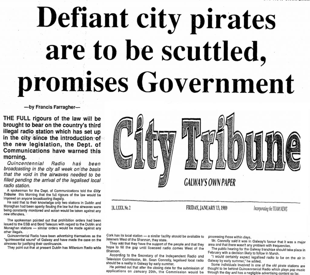 Defiant City Pirates are to be Scuttled, Promises Government was a headline from The City Tribune from January 13th 1989.