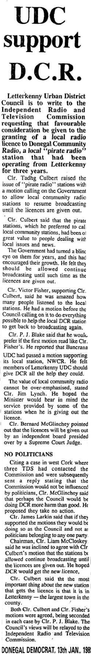 UDC Support DCR was a headline from The Donegal Democrat from January 13th 1989.