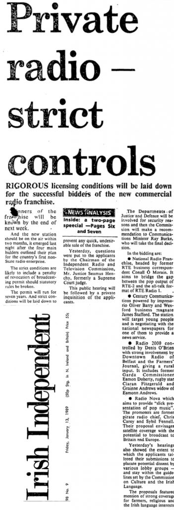 Battle of the Airwaves was a headline from The Irish Independent from January 13th 1989.