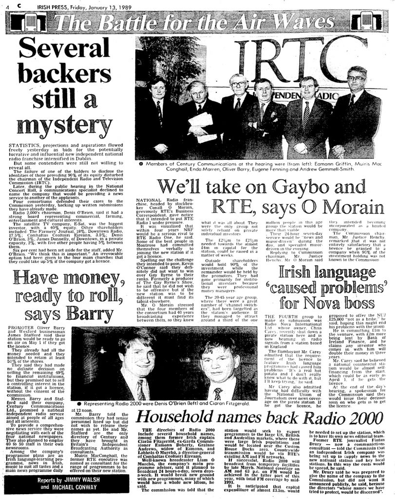 The Battle for the Air Waves was a headline from The Irish Press from January 13th 1989.