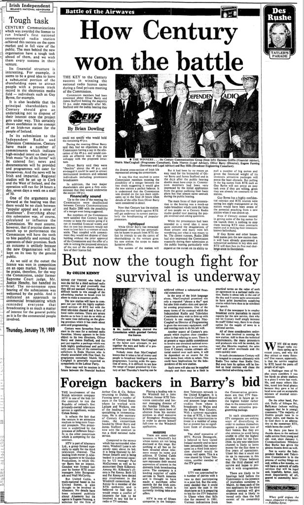 Battle of the Airwaves was a headline from The Irish Independent from January 19th 1989.