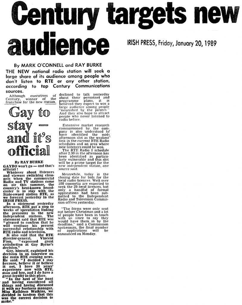 Century targets new audience was a headline from The Irish Press from January 20th 1989.