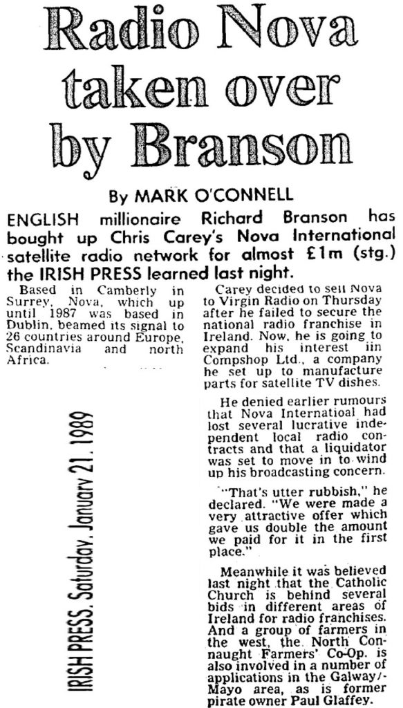 Radio Nova taken over by Branson was a headline from The Irish Press dated January 21st 1989.