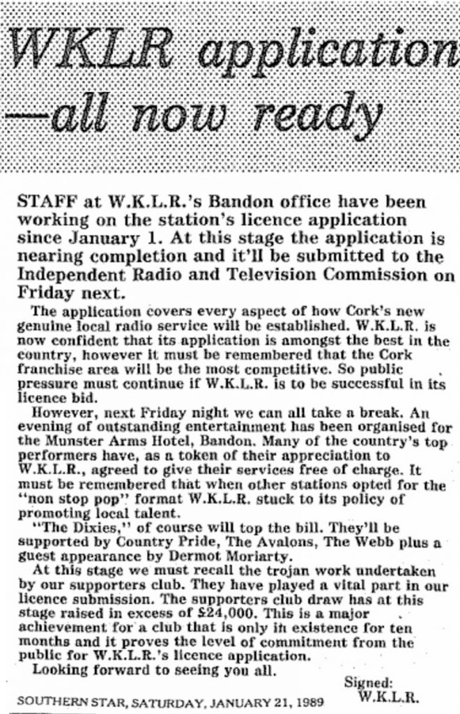 WKLR application - all now ready was a headline from The Southern Star dated January 21st 1989.