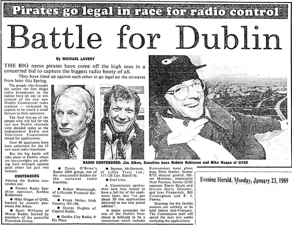 Battle for Dublin was a headline from The Evening Herald from January 23rd 1989.
