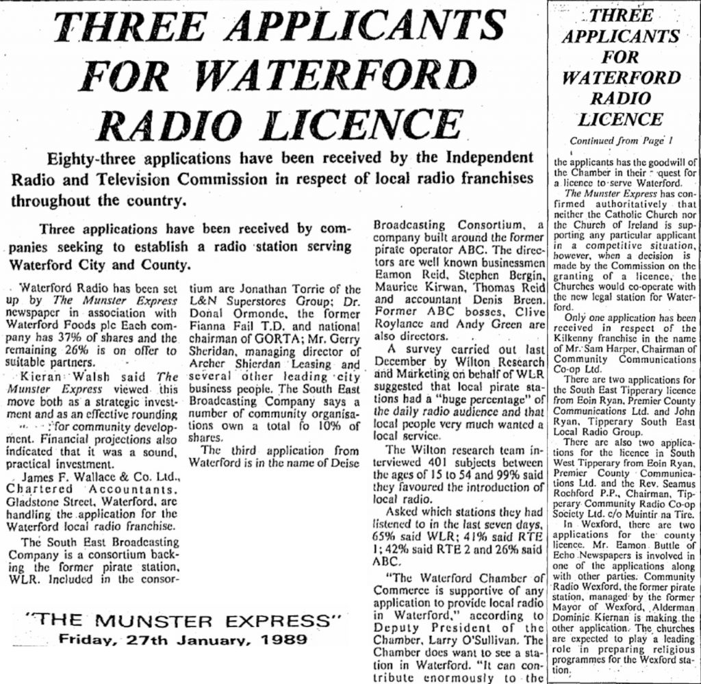Three applicants for Waterford radio licence was an article in The Munster Express dated January 27th 1989.