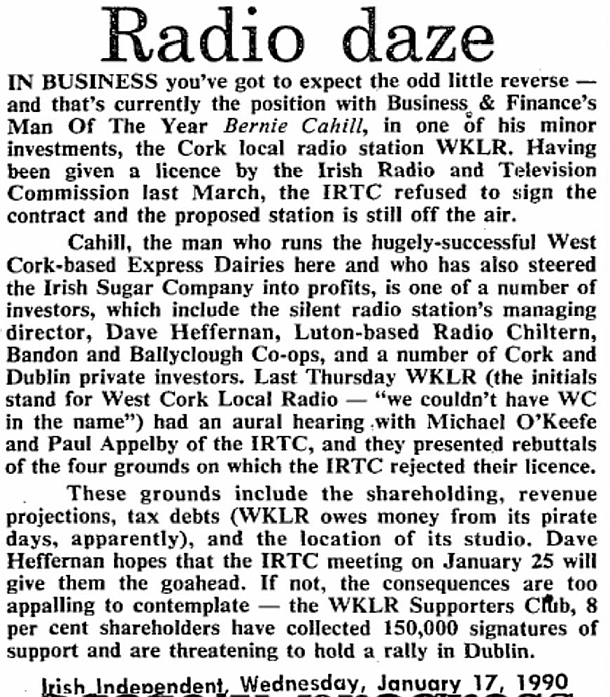 Radio daze was a headline from The Irish Examiner dated January 17th 1990.