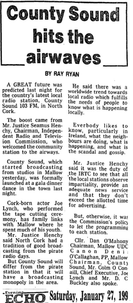 County Sound hits the airwaves was a headline from The Evening Echo dated January 27th 1990.