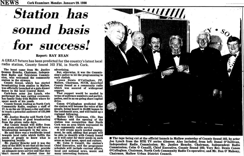 Station has sound basis for success is a headline from The Cork Examiner dated January 29th 1989.