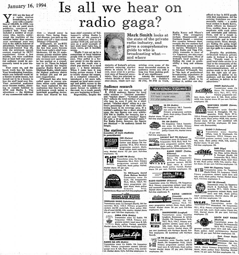 Is all we hear on radio gaga? was a headline from The Sunday Independent dated January 16th 1994.
