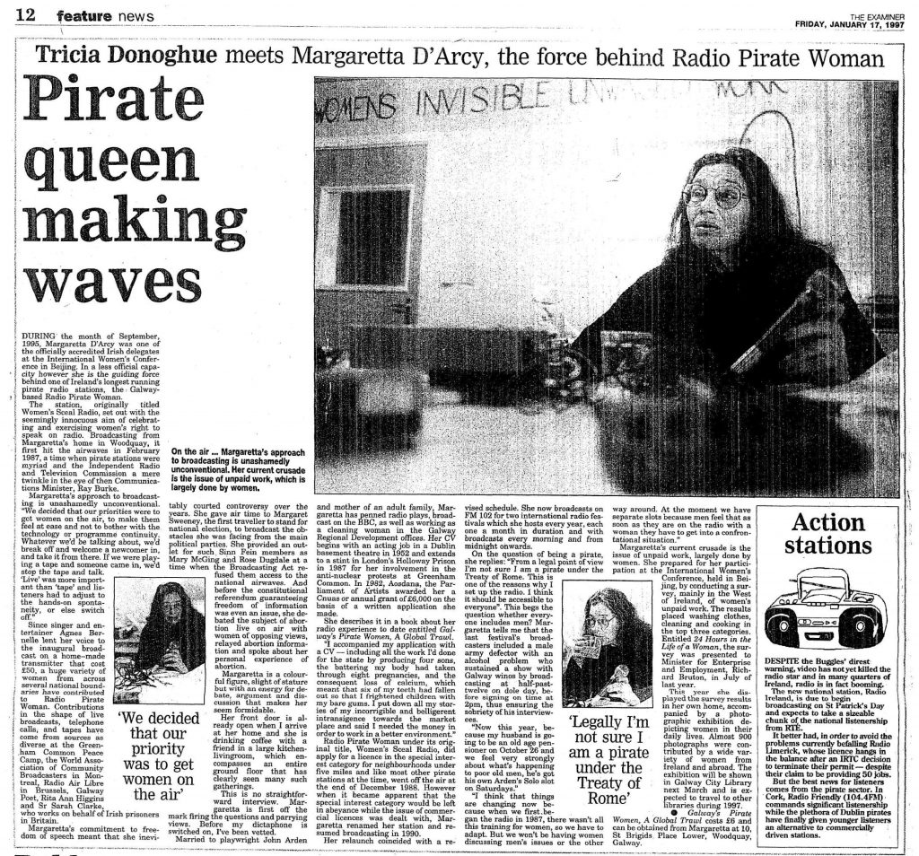 Pirate queen making waves was a headline from The Irish Examiner dated January 17th 1997