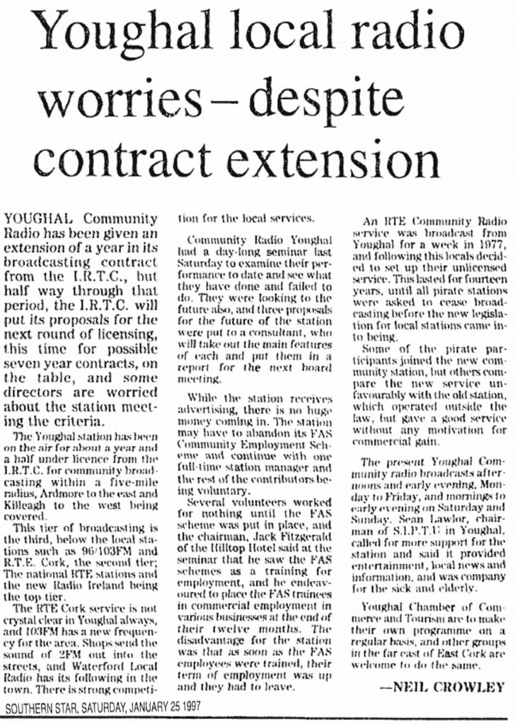 Youghal local radio worries - despite contract extension is a headline from The Southern Star dated January 25th 1997.