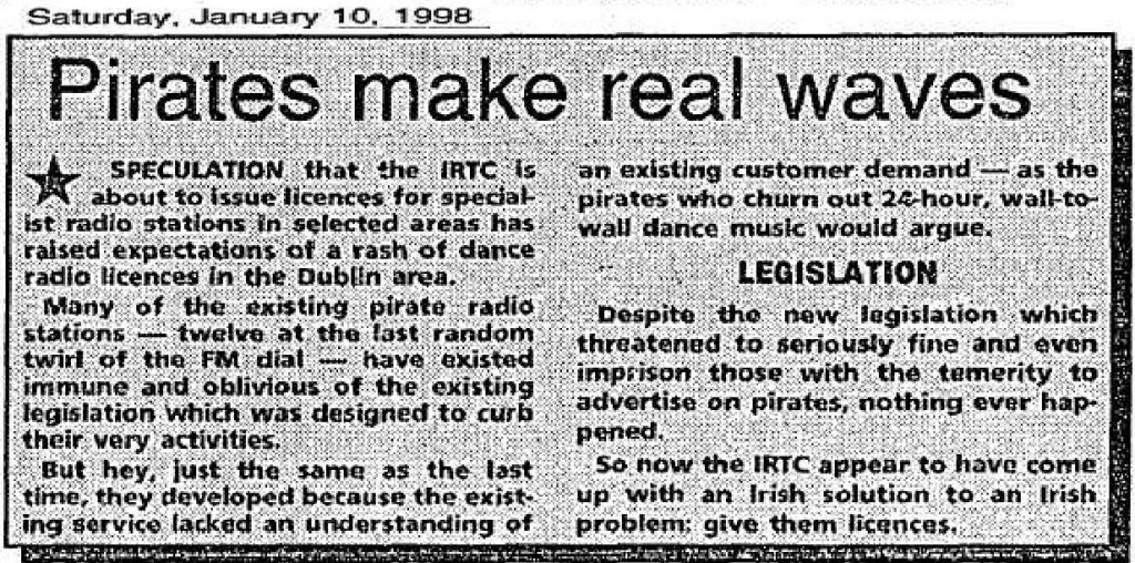 Pirates Make Real Waves is a headline from The Evening Herald dated January 10th 1998