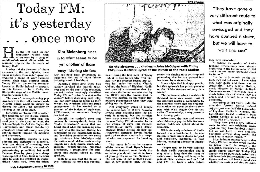Today FM: It's Yesterday Once More is a headline from The Irish Independent dated January 10th 1998