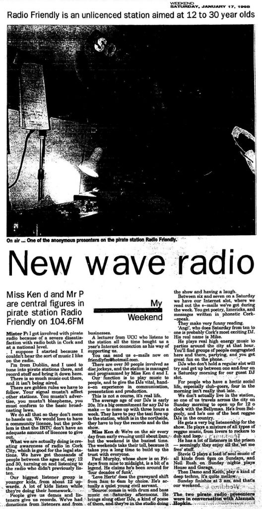 New wave radio was a headline from The Irish Examiner dated January 17th 1998
