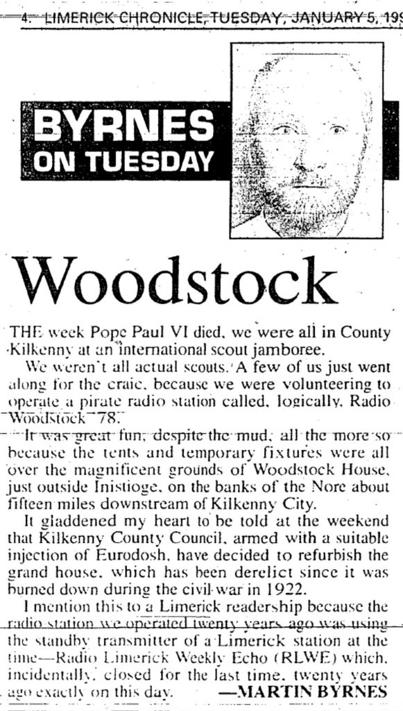 Woodstock is a headline from The Limerick Chronicle from January 5th 1999.