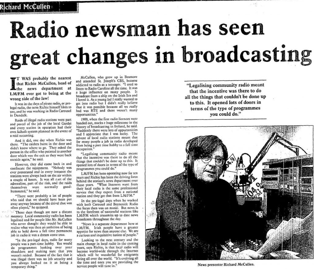 Drogheda Independent Radio Newsman Has Seen Great Changes in Broadcasting