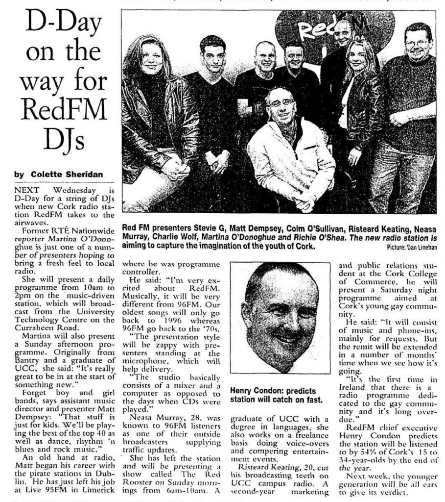 Next Wednesday is D-day for a string of DJs when new Cork radio station RedFM takes to the airwaves.