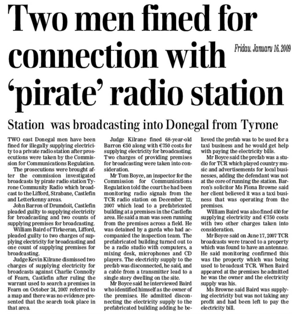 Donegal News Two men fined for connection with pirate radio station