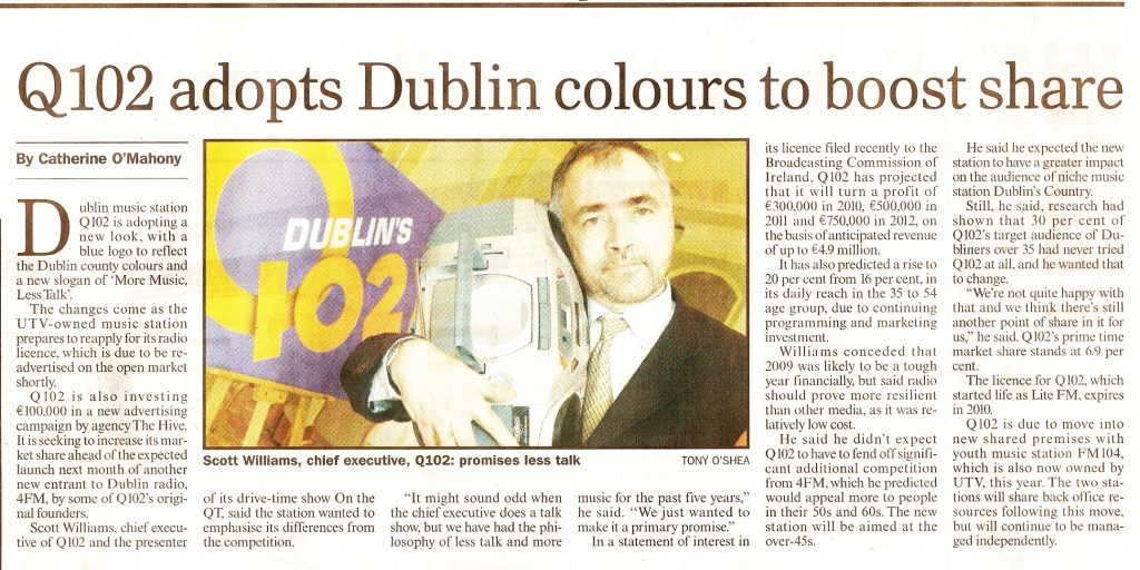 Sunday Business Post Q102 adopts Dublin colours to boost share