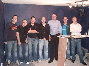 L to R: Brian Buterly, Paul Duffy, Mike O' Brien, Robbie Dunbar, Liam Tutty, Wayne Scales and Ralph McGarry on the first meeting of the presenters in August '08