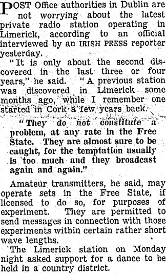 Private radio station in Limerick was an article in The Irish Press dated February 5th 1936