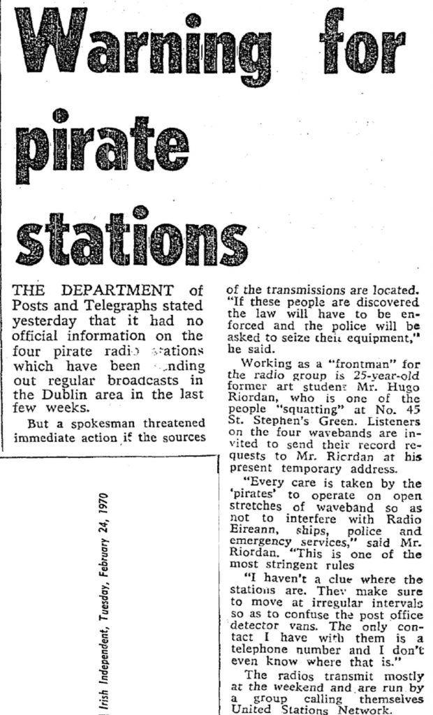 Warning for pirate stations was a headline from The Irish Independent dated February 24th 1970