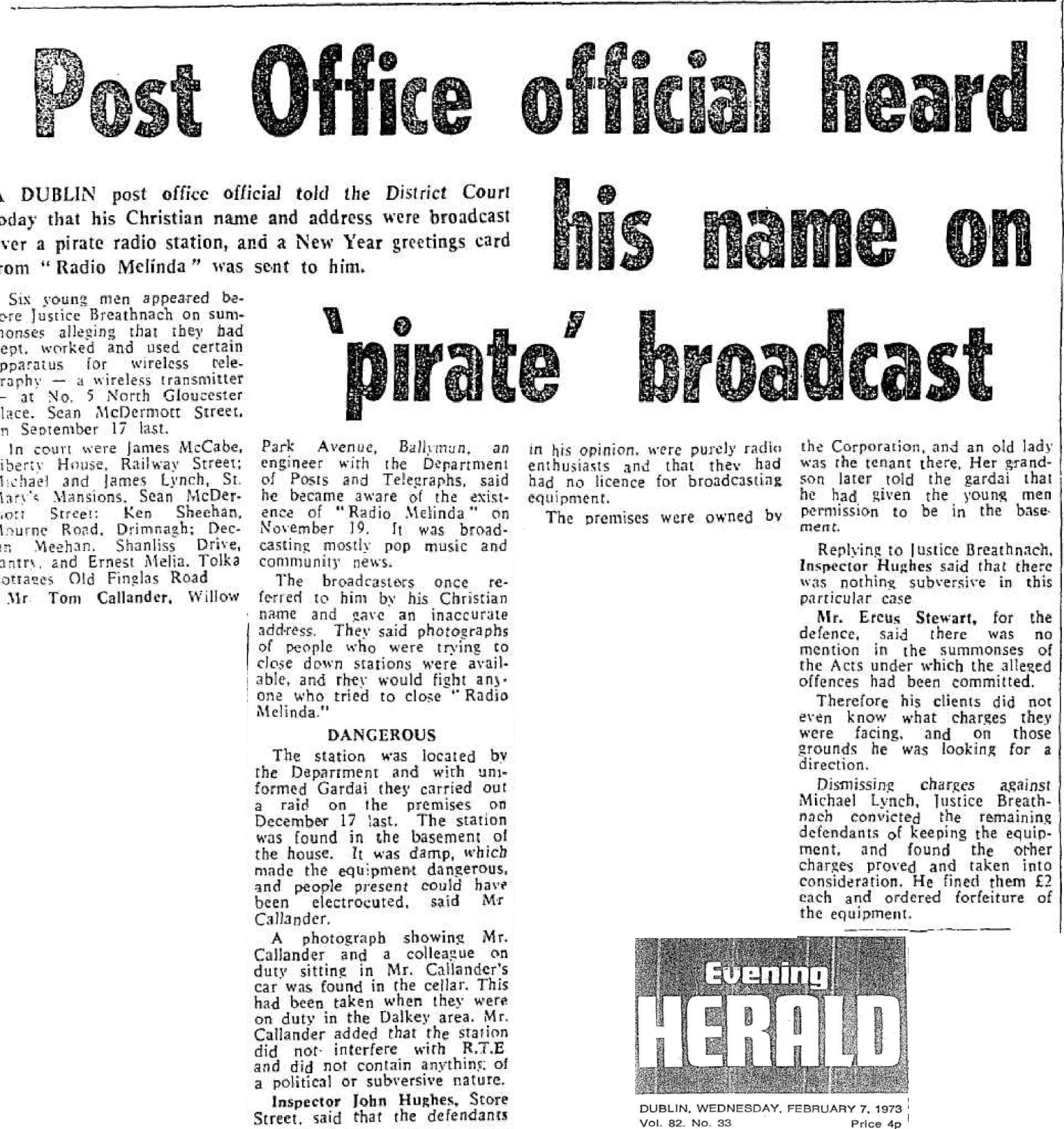 Post Office official heard his name on 'pirate' broadcast was a headline from The Evening Herald from February 7th 1973