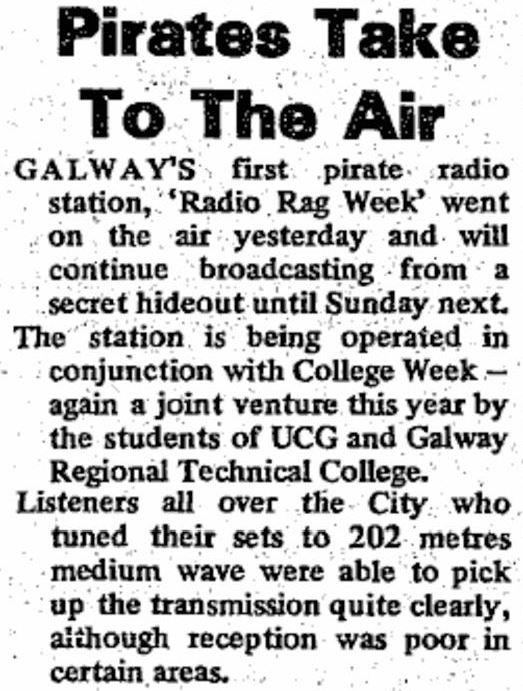Pirates take to the air was a newspaper headline from The Connacht Sentinel dated February 21st 1978